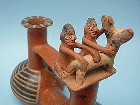 Inca Pottery Stirrup Vessel with Llama & Grooms