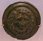 Two Roman Bronze Protome, Medusa & Lion