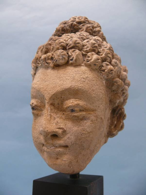 Gandharan Stucco Head of a Boddhisattva
