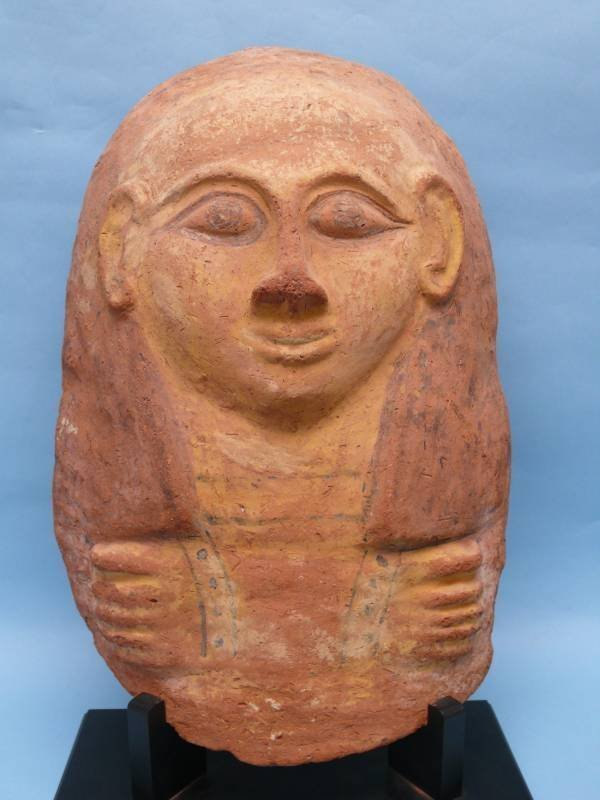 Egyptian Pottery Mummiform Sarcophagus Lid