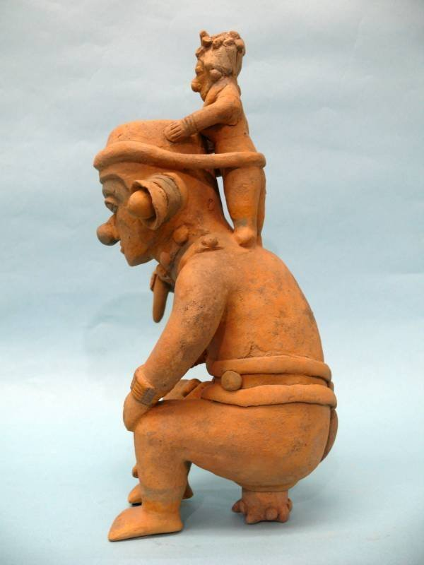 Jama Coaque Pottery Vessel, Man & Consort