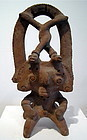 Colima Pottery Rain God Tlaloc Incensario, Janus form