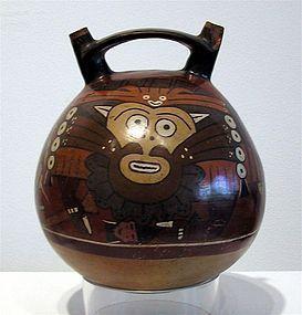 Nazca Polychrome Pottery Stirrup Vessel with Feline God