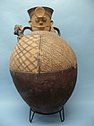 Monumental Chancay Pottery Vessel of a Hunter and Monkey