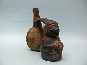 Chimu Inca Blackware Double Bodied Figural Vessel