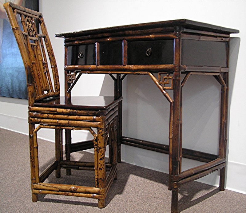 Qing Dynasty Lacquer Bamboo Writing Desk & Chair