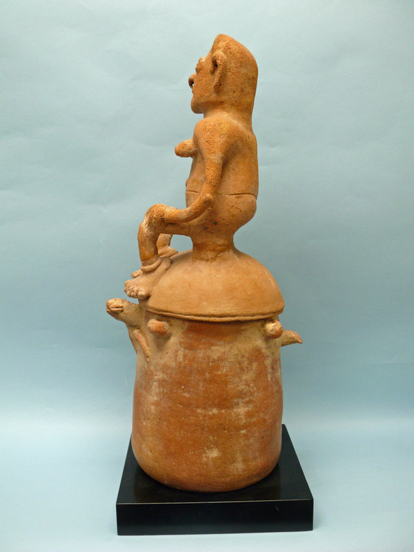 Rio Magdalena Pottery Burial Urn, Woman riding a Sea Turtle