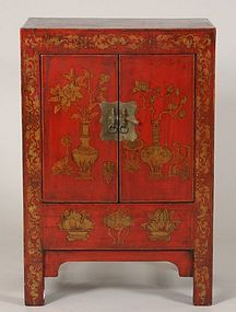 Qing Dynasty Shanxi Red & Gilt Lacquered Cabinet