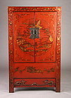 Qing Dynasty Red Lacquer Shanxi Cabinet