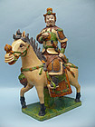 Monumental Ming Dynasty Pottery Warrior on Horse