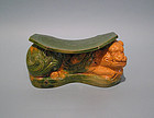 Ming Dynasty Sancai Glazed Pillow of a Recumbent Lion
