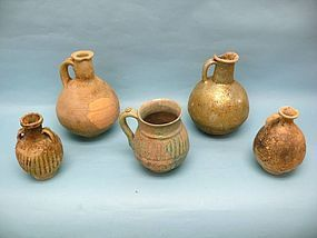 Grouping of Five Parthian Pottery Vessels with Juglet