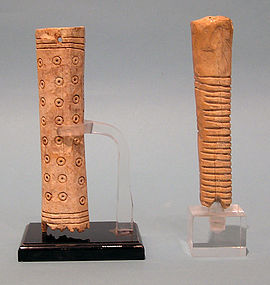 SOLD SEPARATELY: Roman Bone Handles with Geometric Pattern