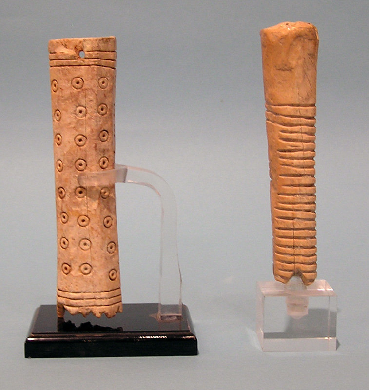 Two Roman Bone Handles with Geometric Pattern