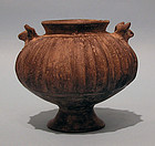 Persian Pottery Ribbed Blackware Amphoriskos, Bull Head