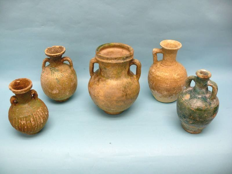 Grouping of Five Parthian Pottery Vessels with Amphora