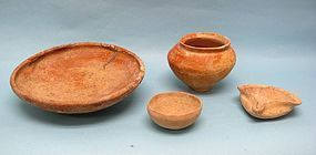 Ancient Holy Land Pottery, Grouping of Four Artifacts