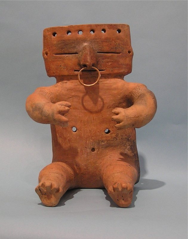 Quimbaya Pottery Slab Seated Female with Gold Nose Ring