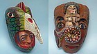 Two Mexican Wooden Day of the Dead Masks
