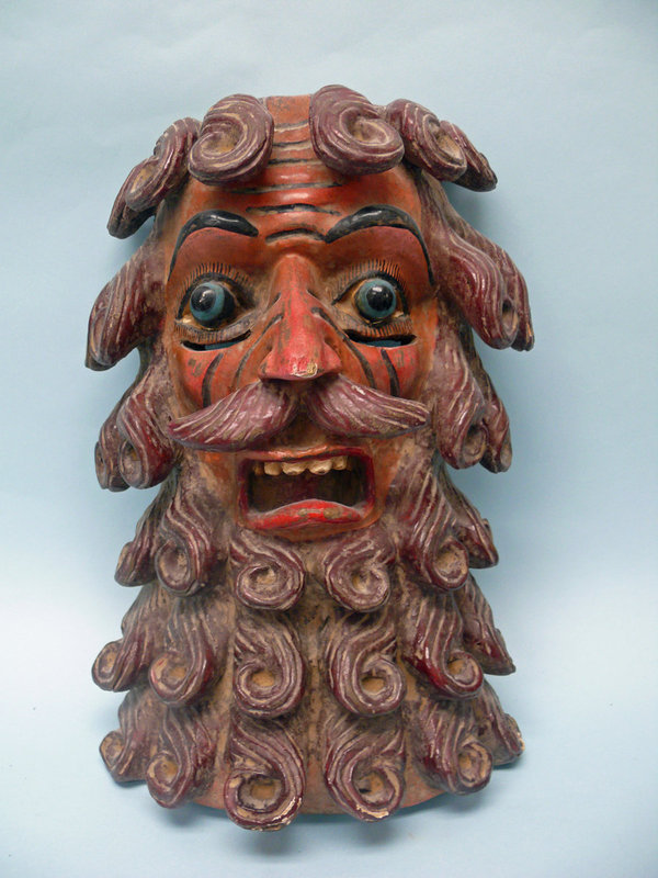 Mexican Wooden Day of the Dead Mask of a Man