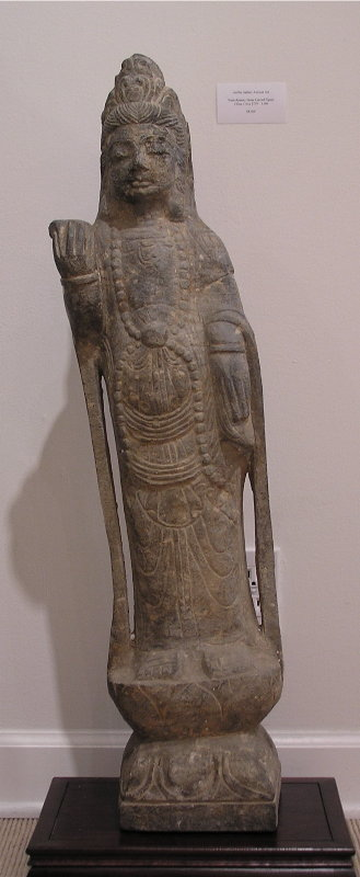 Monumental Yuan Dynasty Stone Figure of Guan Yin