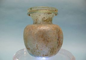 Roman Green Ribbed Glass Cosmetic Container