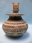 Daunian Pottery High Handle Jug with Geometric Pattern