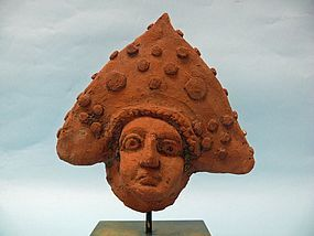 Roman Pottery Head of a Man with Triangular Hat