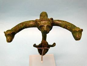 Etruscan Bronze Hydria Handle with Lion and Monkey Heads