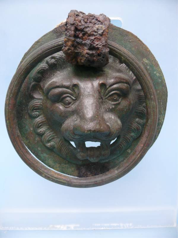 Roman Bronze Lion Mask with Handle