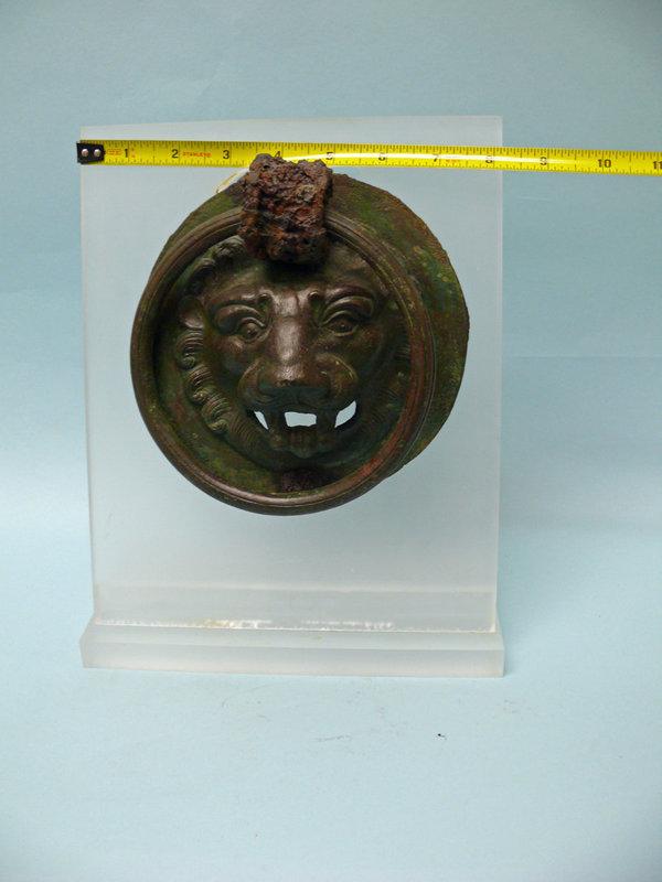 Roman Bronze Lion Mask with Handle