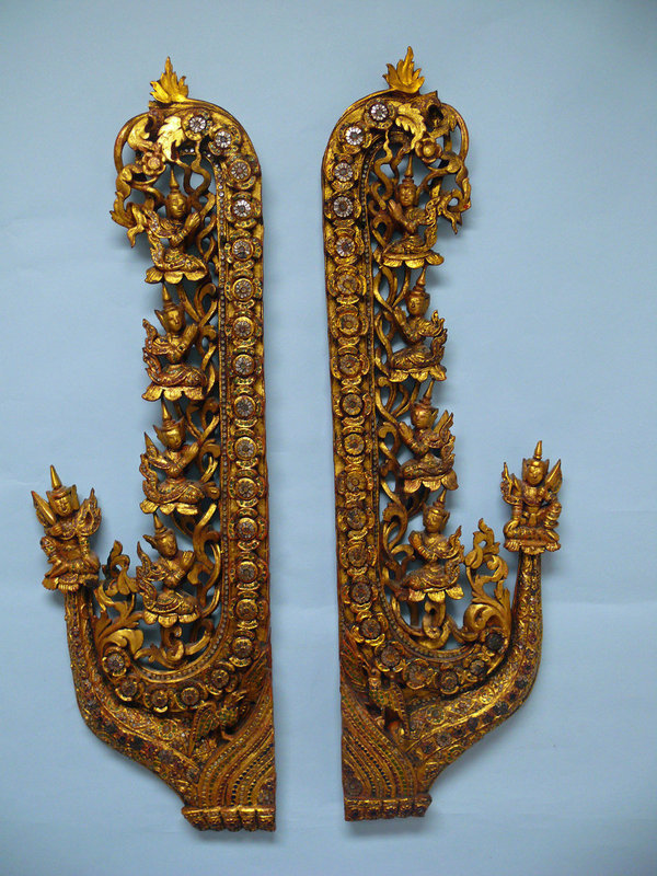 Thai Gilt Red Lacquered Wooden Panels,