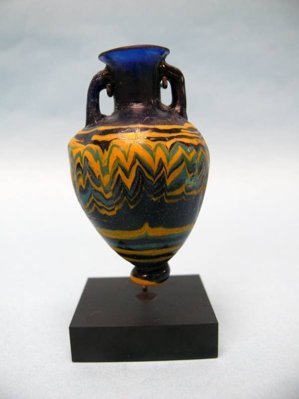 Rare Ancient Near East Core Formed Glass Amphoriskos