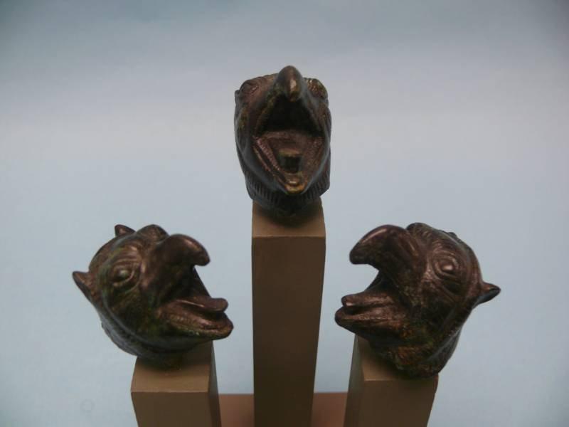 Three Roman Bronze Mythical Griffin Heads