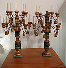 Pair Italian Painted / Gilt Wooden Candelabra, Torchieres