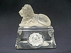 English Crystal Recumbent Lion on Glass Base
