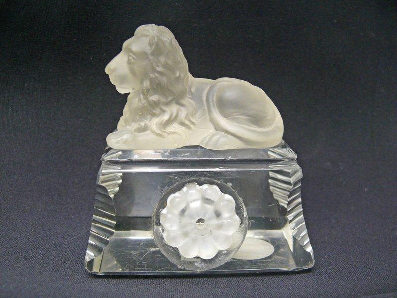 English Crystal Recumbent Lion on Glass Base