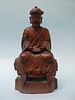 Sino Tibetan Wooden Figure of a Lama