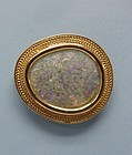 Roman Glass Oval Broach / 14K Contemporary Gold Setting