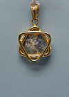 Roman Glass Pendant with 14K Gold Contemporary Setting