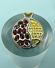 HandMade Pomegranate Pendant, Silver, Gold Filled, Garnet