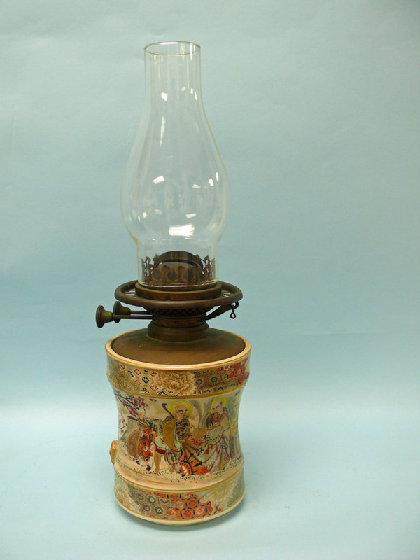 Japanese Satsuma Gold Gilt Oil Lamp, Meiji Period