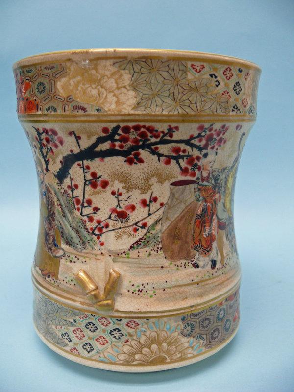 Japanese Satsuma Gold Gilt Oil Lamp, Meiji Period