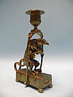 Victorian Brass Chamberstick with Vulture / Money motif
