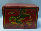 Qing Dynasty Chinese Red Wooden Box, Foo Dog motif