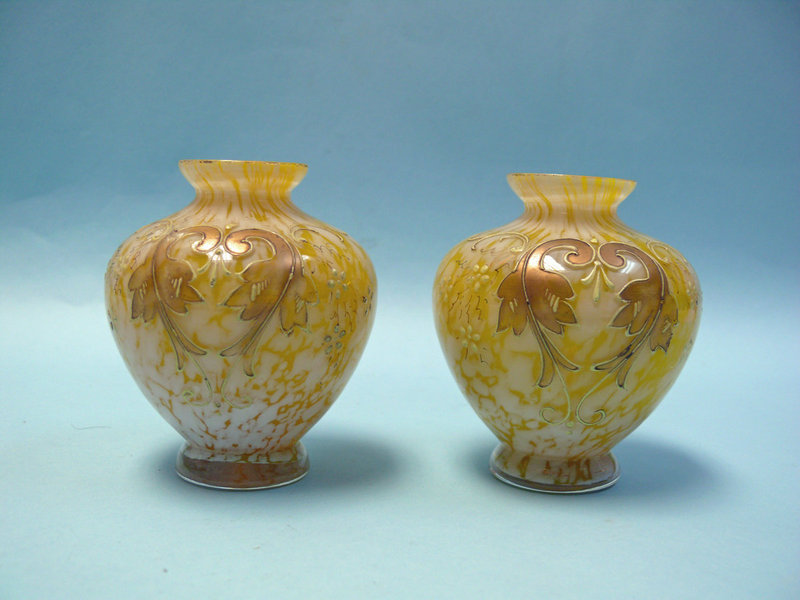 Pair of Victorian Yellow Gilt Glass Mini Vases