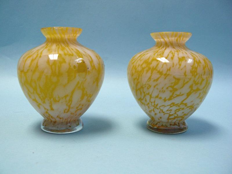 Pair of Victorian Yellow Gilt Glass Mini Vases