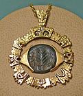 Bronze Prutah Coin Necklace, Porcius Festus 59 CE, in 14K Modern Gold