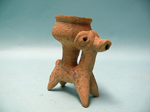 Syro Hittite Terracotta Idol of a Ram with a Bowl