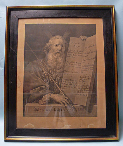 Lithograph, Moses, The Ten Commandments, Wilhelm Creuzbauer
